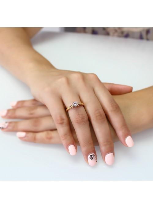 Pierścionek zaręczynowy  z diamentem 0.44 ct H/VVS1żółte i białe złoto 0.750 18 kt