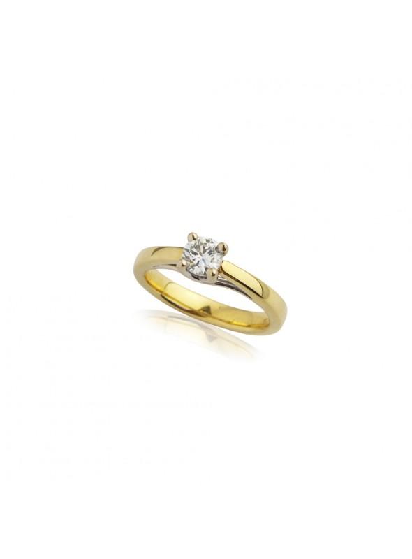Pierścionek Zaręczynowy Z Diamentem 044 Ct Hvvs1żółte I Białe