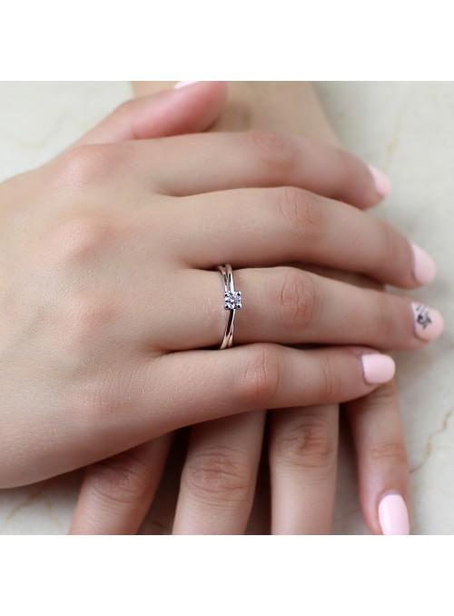 Pierścionek zaręczynowy z diamentem 0.20 ct G/VS1 białe złoto