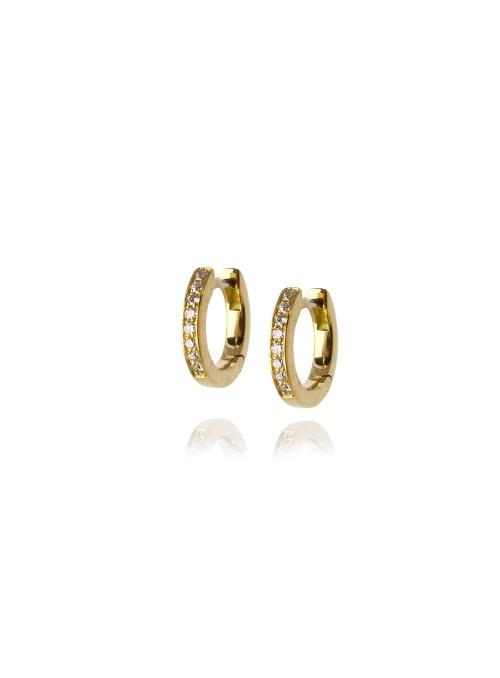 kolczyki kółeczka z diamentami 0.09ct F/VS1 żółte złoto 0.750 18 kt
