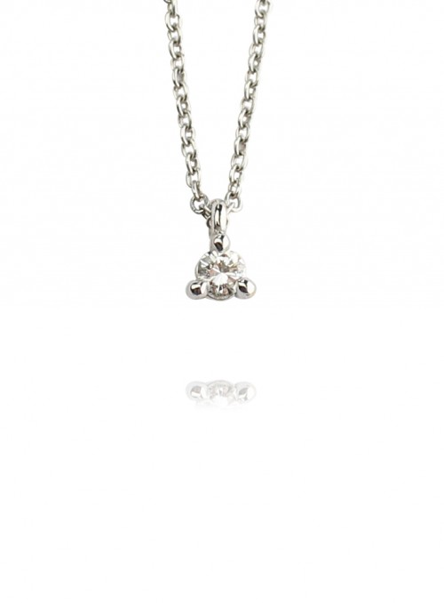 naszyjnik  z diamentem 0.10 kt F/VS1 białe złoto 0.750 18kt