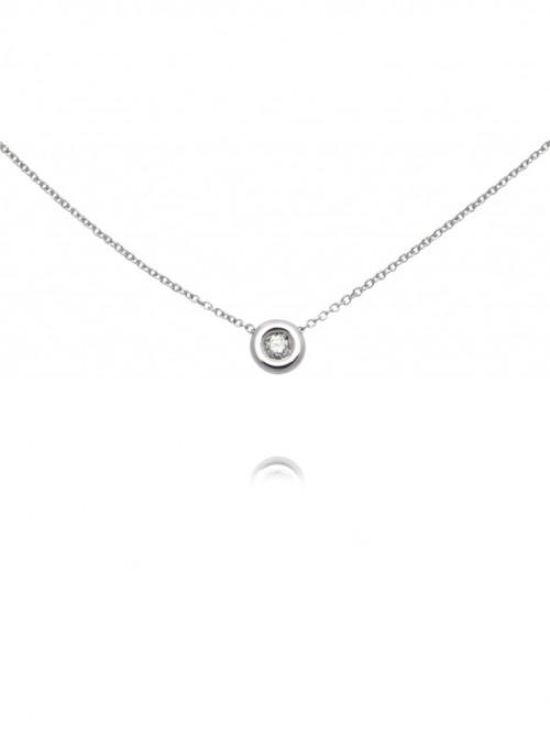naszyjnik  z diamentem 0.09 kt F/VS1 białe złoto 0.750 18kt