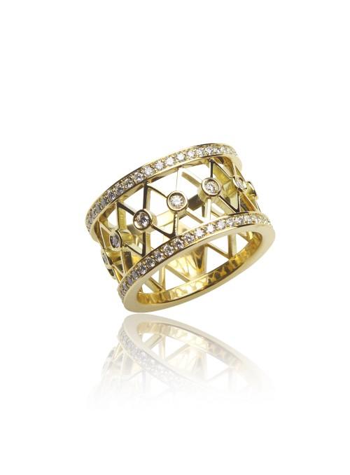 Pierścionek z diamentami 0.60 kt F/VS1 żółte złoto 0.750 18 kt