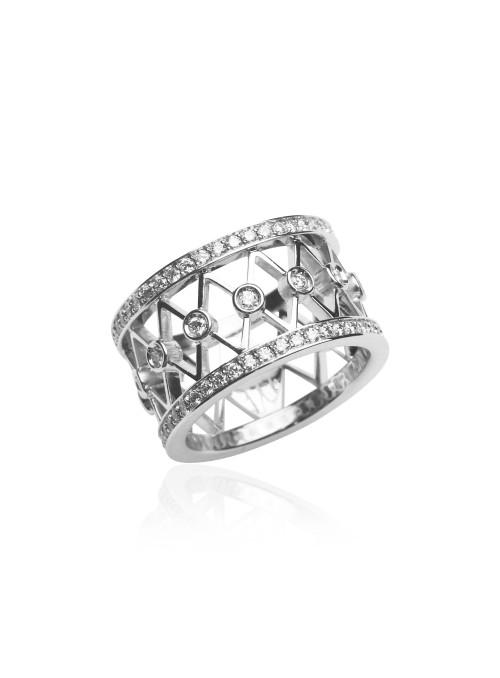 Pierścionek z diamentami 0.60 kt F/VS1 białe złoto 0.750 18 kt