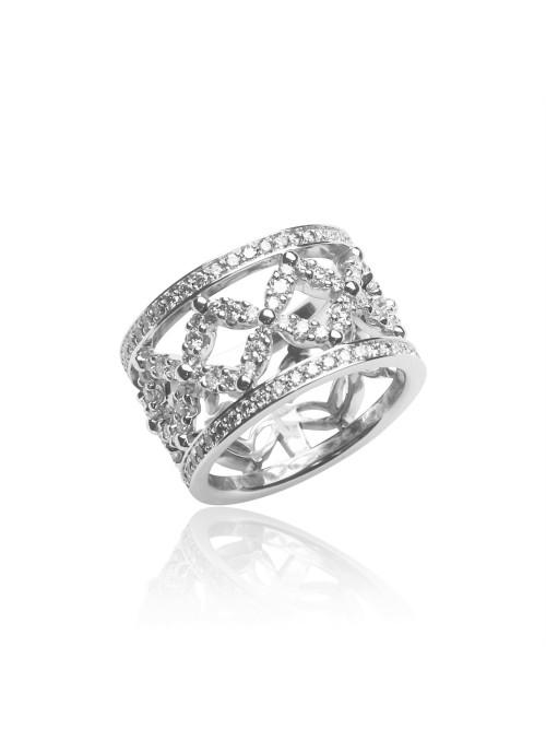 Pierścionek z diamentami 1.33 kt F/VS1 białe złoto 0.750 18 kt