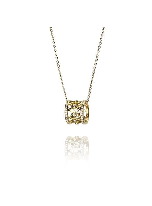 naszyjnik  z diamentami 0.66 kt F/VS1 żółte  złoto 0.750 18 kt
