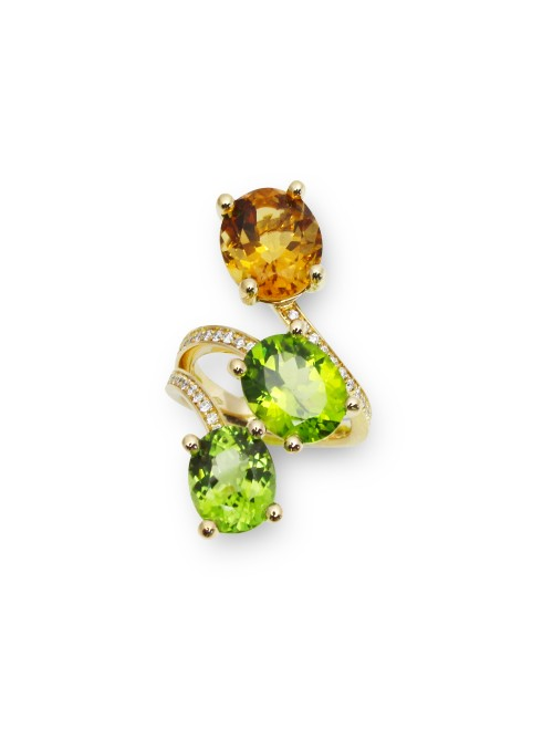 Perścionek z diamentami 0.31kt F/VS1 perydot cytryn żółte złoto 0.750 18 kt
