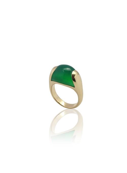 Perścionek zielony onyks żółte złoto 0.750 18 kt