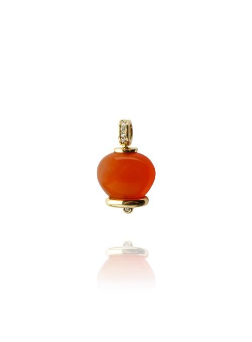 Wisiorek dzwoneczek diamenty 0.07 ct F/Vs1 karmelon żółte złoto 0.750 18 kt