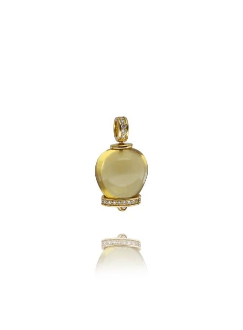 Wisiorek dzwoneczek diamenty 0.17 ct F/Vs1 cyrtyn żółte złoto 0.750 18 kt