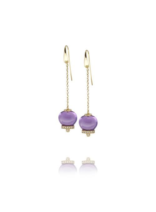 Kolczyki dzwoneczki diamenty 0.32 ct F/Vs1 ametyst żółte złoto 0.750 18 kt