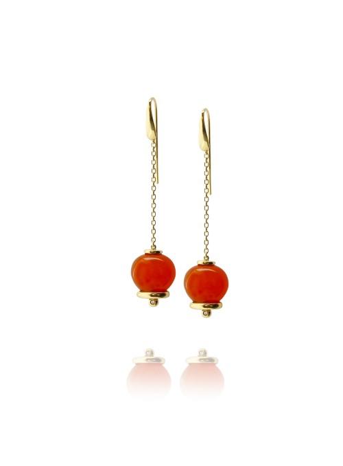 Kolczyki dzwoneczki diamenty 0.04 ct F/Vs1 turkus żółte złoto 0.750 18 kt