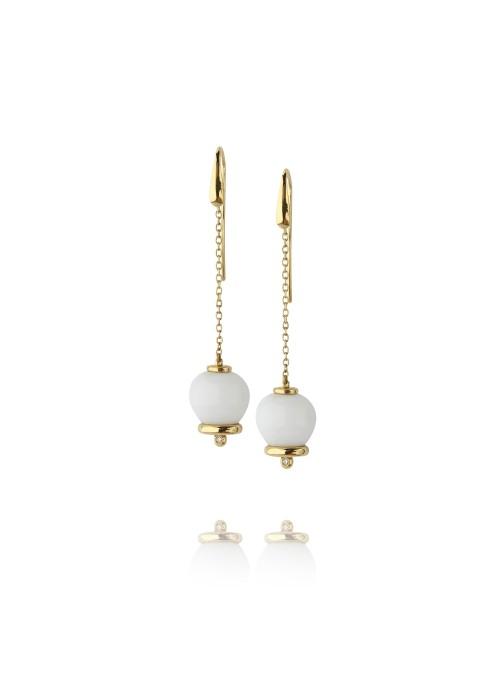 Kolczyki dzwoneczki diamenty 0.04 ct F/Vs1biały opal żółte złoto 0.750 18 kt