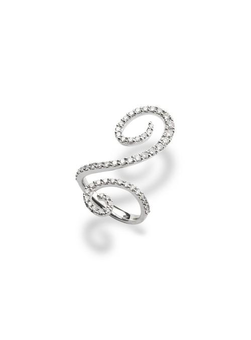 Pierścionek z diamentami 1.16 ct F/VS1 białe złoto 0.750 18 kt