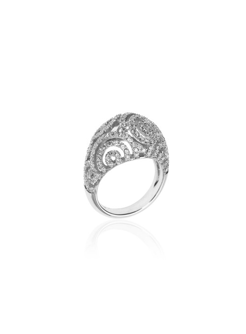 Pierścionek z diamentami 1.69 kt F/VS1 białe złoto 0.750 18 kt