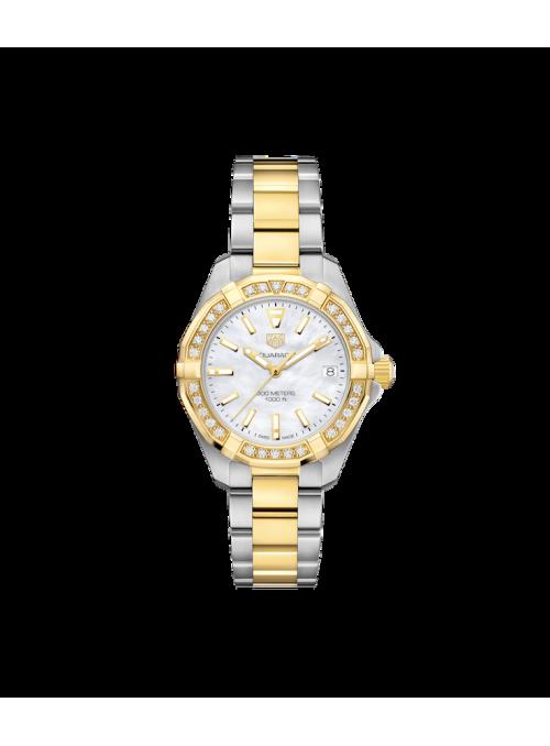 TAG HEUER Aquaracer Lady Biały/18 karatowe żółte złoto Ø32 mm WBD1321.BB0320