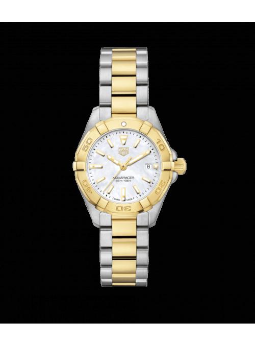 TAG HEUER Aquaracer Lady Biały/18 karatowe żółte złoto Ø32 mm