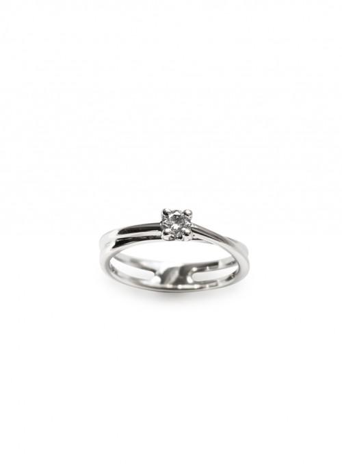 Pierścionek zaręczynowy z diamentem 0.18 ct G/VVS1 białe złoto 0.750 18 kt