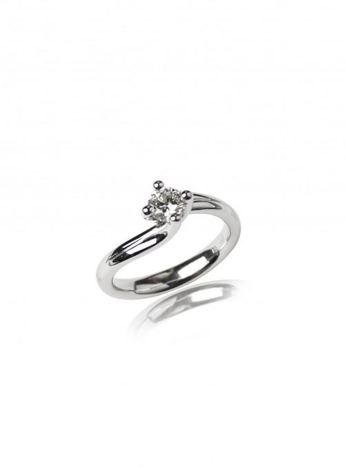Pierścionek zaręczynowy z diamentem 0.41 ct K/VS1 białe złoto 0.750 18 kt