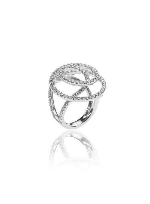 Pierscionek infinito z diamentami 1.89 kt F/VS1 białe złoto 0.750 18kt