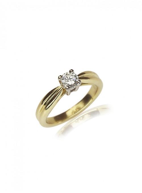Pierścionek zaręczynowy  z diamentem 0.38 karata i żółte i białe  złoto 0.750 18 karatowe