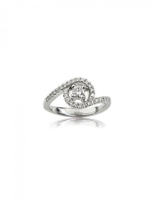 Pierścionek zaręczynowy z diamentami 0.45 kt G/VS2 F/VS1 białe złoto 0.750 18 karatowe