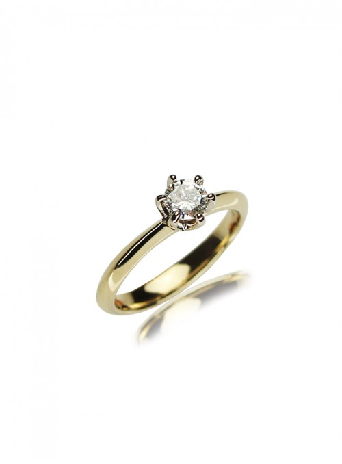 Pierścionek z diamentem 0.43 karata i/vvs1  żółte i białe  złoto 0.750 18 karatowe
