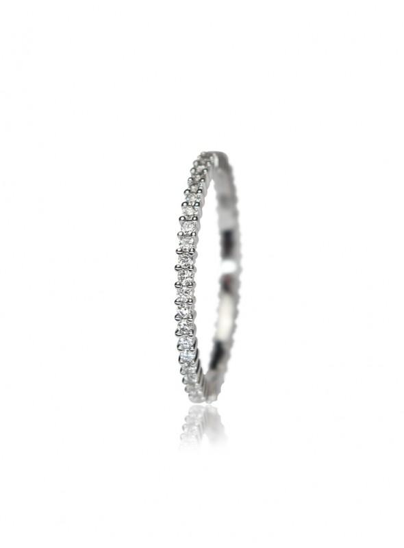 Pierścionek z diamentami 0.39 kt F/VS1 białe złoto 0.750 18 karatowe