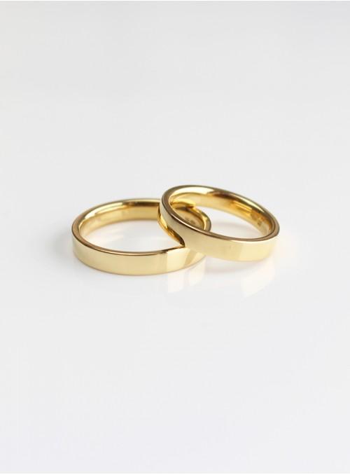 obrączki ślubne klasyczne  płaskie  żólte złoto 0.750 18kt 3.50 mm 10.00 gram