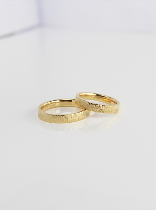 obrączki ślubne klasyczne  fakturowane żólte złoto 0.750 18kt 3.00 mm 8.00 gram