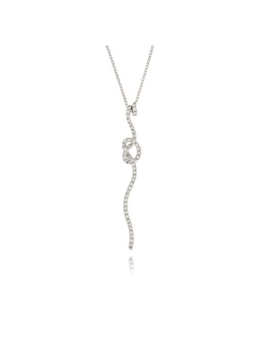 Naszyjnk Nastri Nodo z diamentami 0.53 kt F/VS1 białe złoto 0.750 18kt