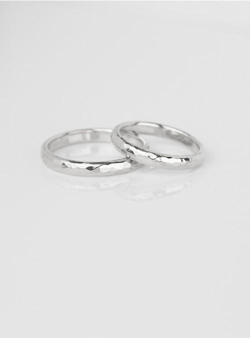 obrączki ślubne klasyczne  młotkowane białe złoto 0.585 3.00 mm 8.00 gram 14 karatowe kt