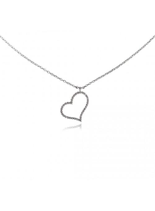Naszyjnik serce z diamentami 0.32 karata F/VS1 białe złoto 0.750 18 karatowe