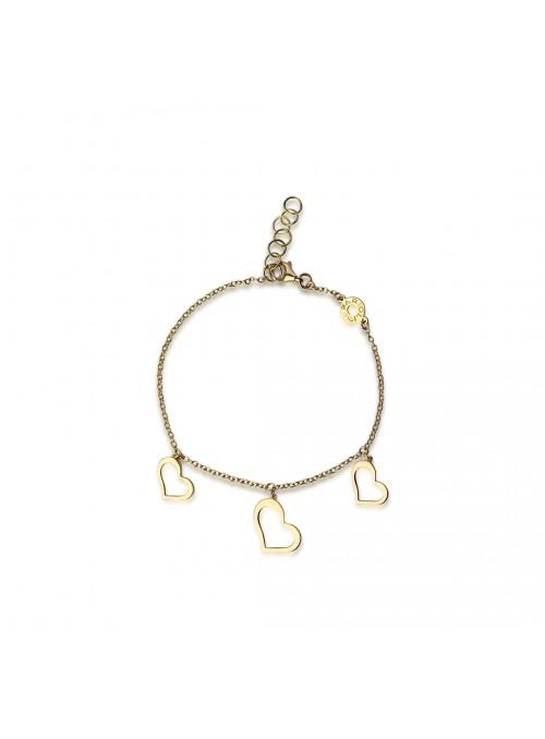 bransoletka 3 serca zawieszone żółte złoto 0.750 18 karatowe