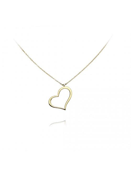 Naszyjnik serce z diamentem 0.018 karata F/VS1 białe złoto 0.750 18 karatowe