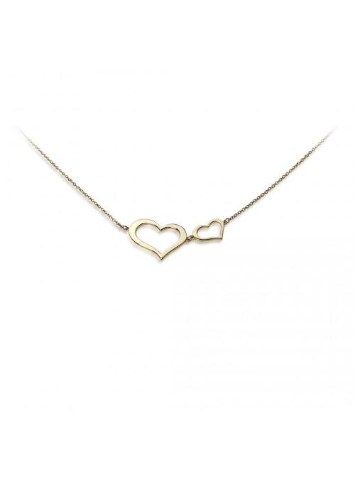 Naszyjnik z podwójnym sercem  żółte złoto 0.750 18 karatowe