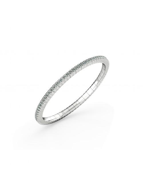 elastyczna bransoletka tenisowa z diamentami 2.72 ct  białe złoto 750