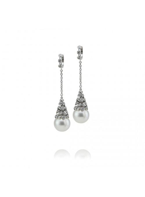 kolczyki naturalne perły Austalijskie   z diamentami złoto 0.750