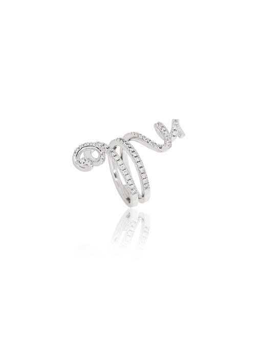 Pierścionek Nastri z diamentami 0.99 kt F/VS1 białe złoto 0.750 18 kt