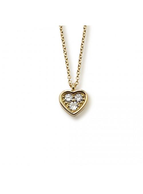 Naszyjnik serce z diamentami 0.27 F/VS1 żółte złoto 0.750 18 kt
