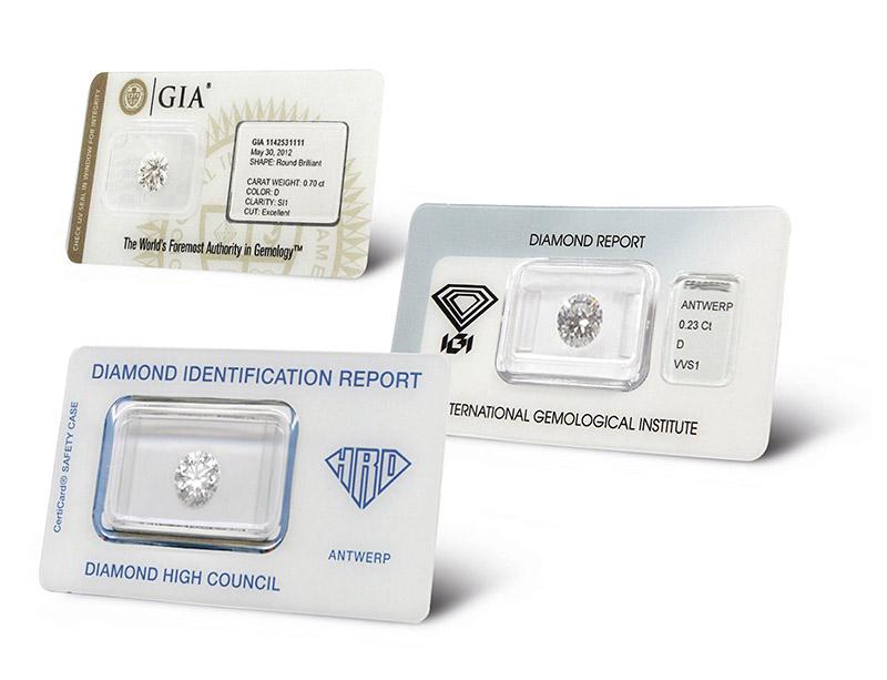 Diamenty certyfikowane zaplombowane