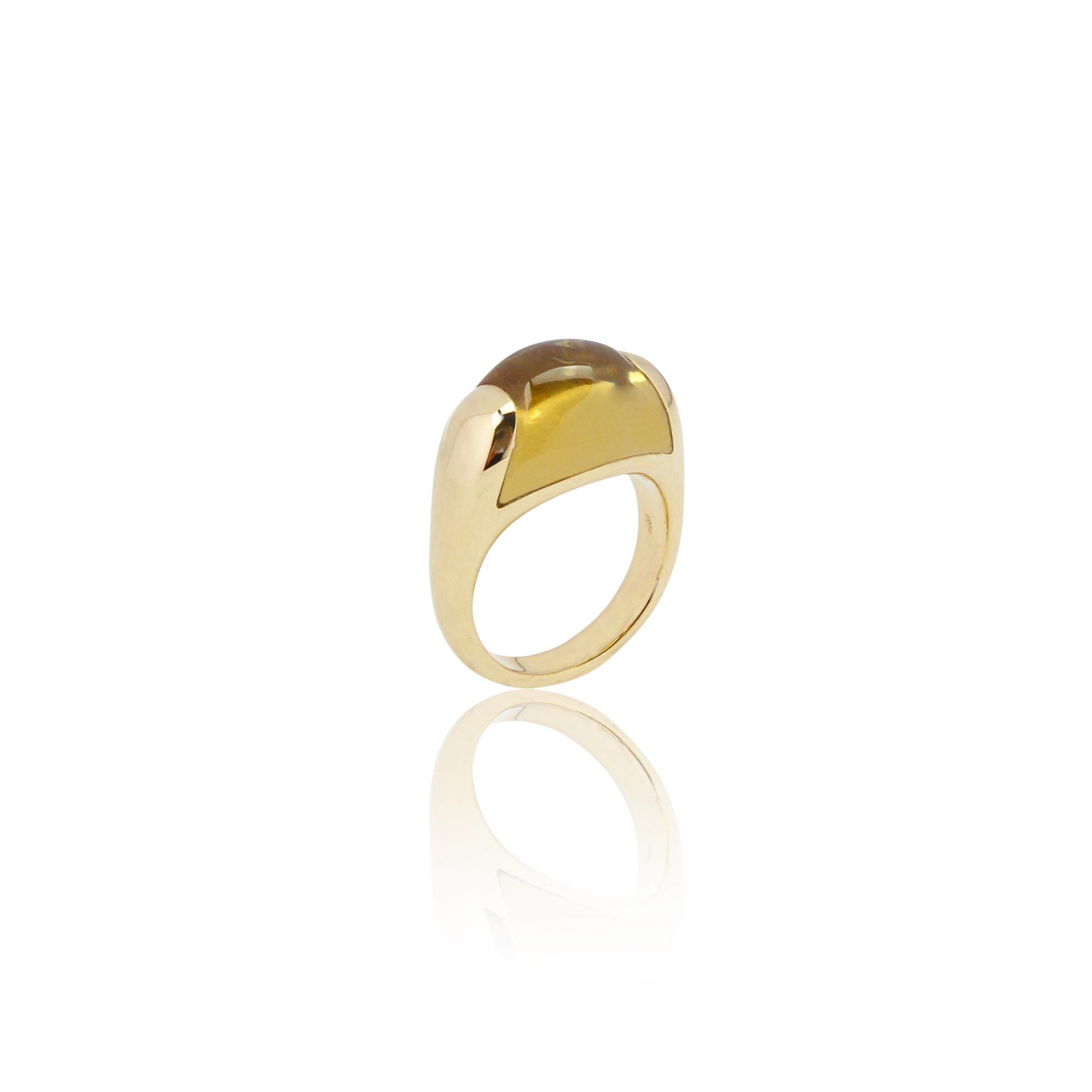 Anello paradiso 1209 citrinoe in oro giallo 18 carati con onyce verde