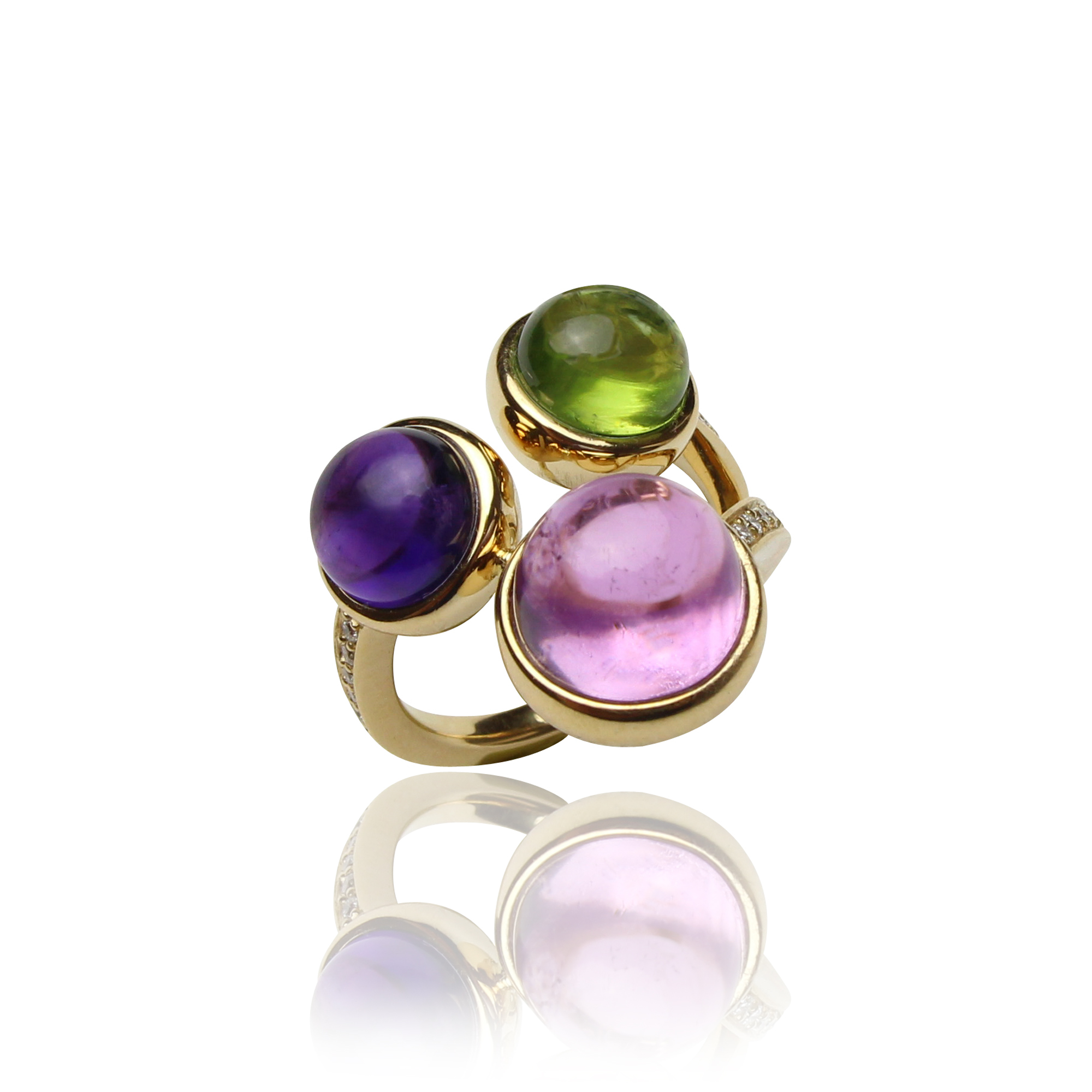 ring arcobaleno yellow gold 18 carat kunzite amethyst,peridot and diamonds