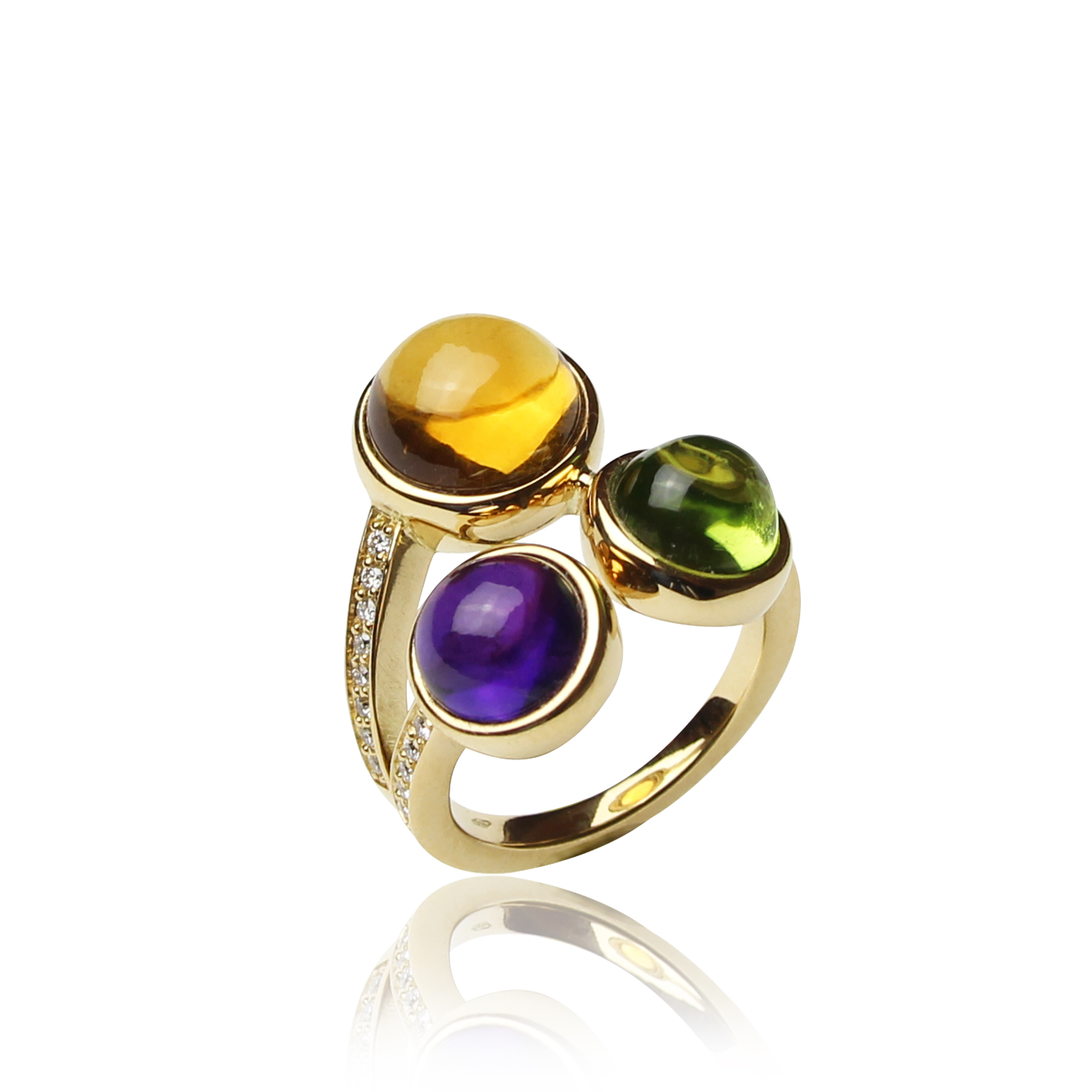 ring arcobaleno yellow gold 18 carat ,citrine ,peridot amethyst and diamonds