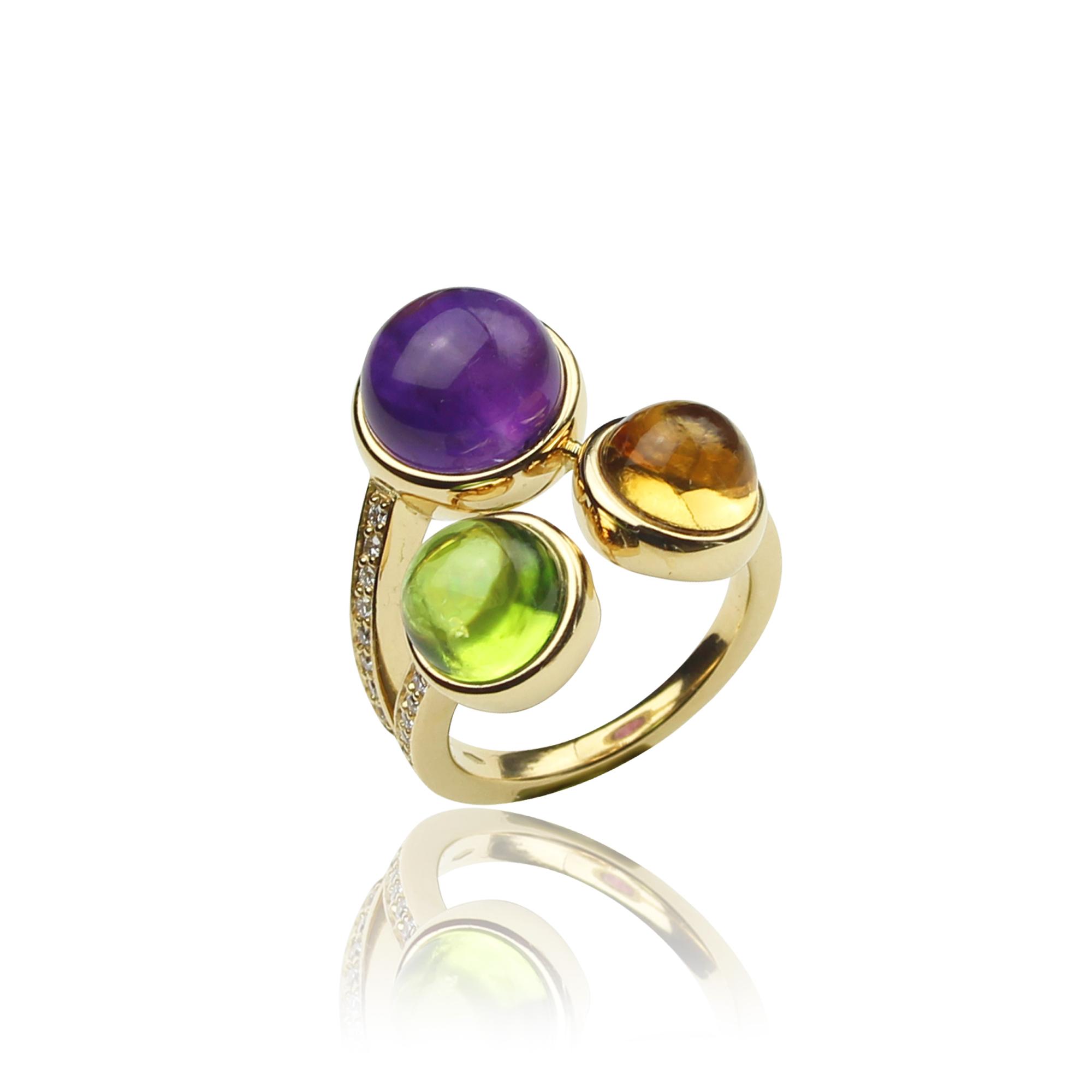 pieścionek paradiso z żółtego złota 18 karatowego ametyst perydot cytryn i diamenty