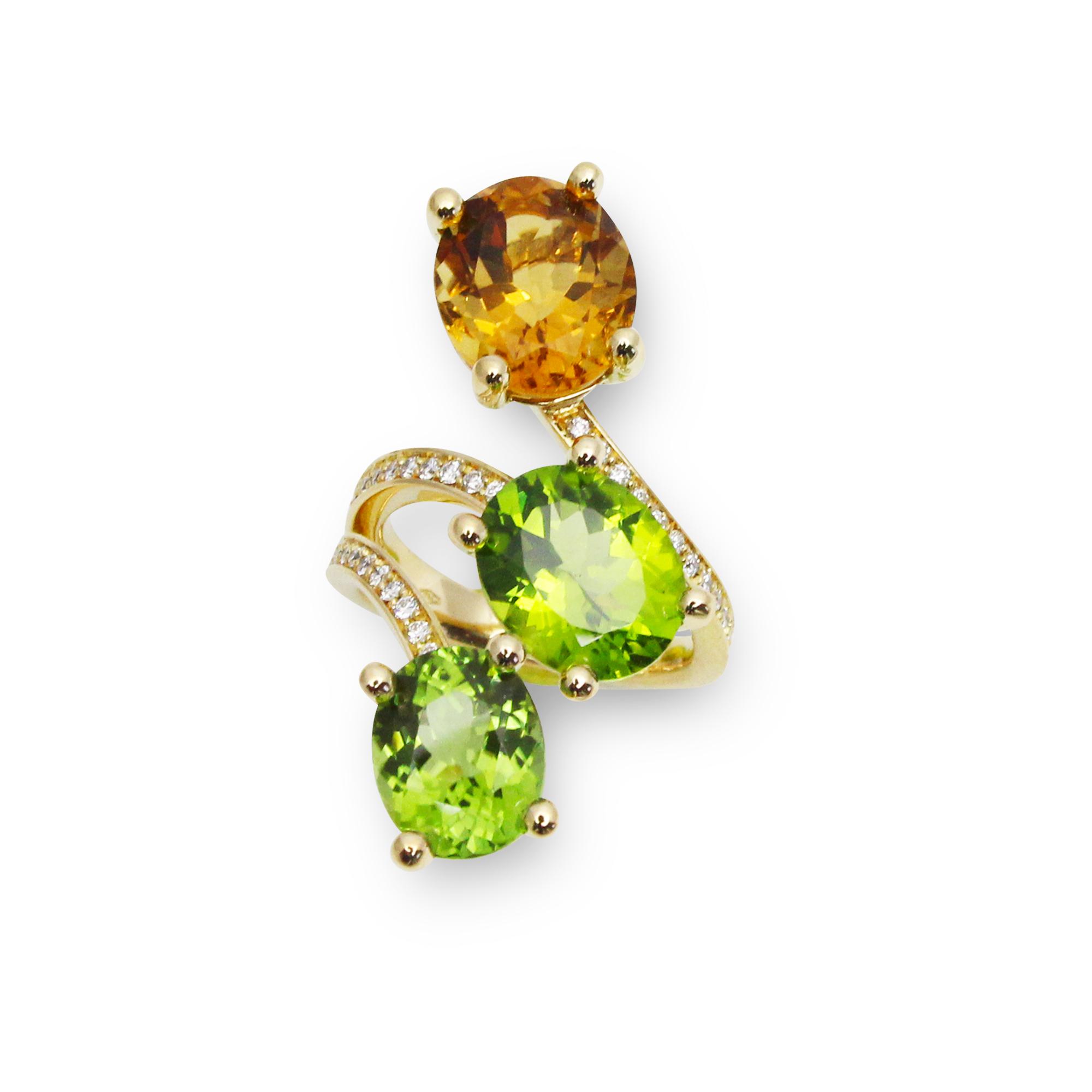 pieścionek paradiso z żółtego złota 18 karatowego perydot ,cytryn i diamenty