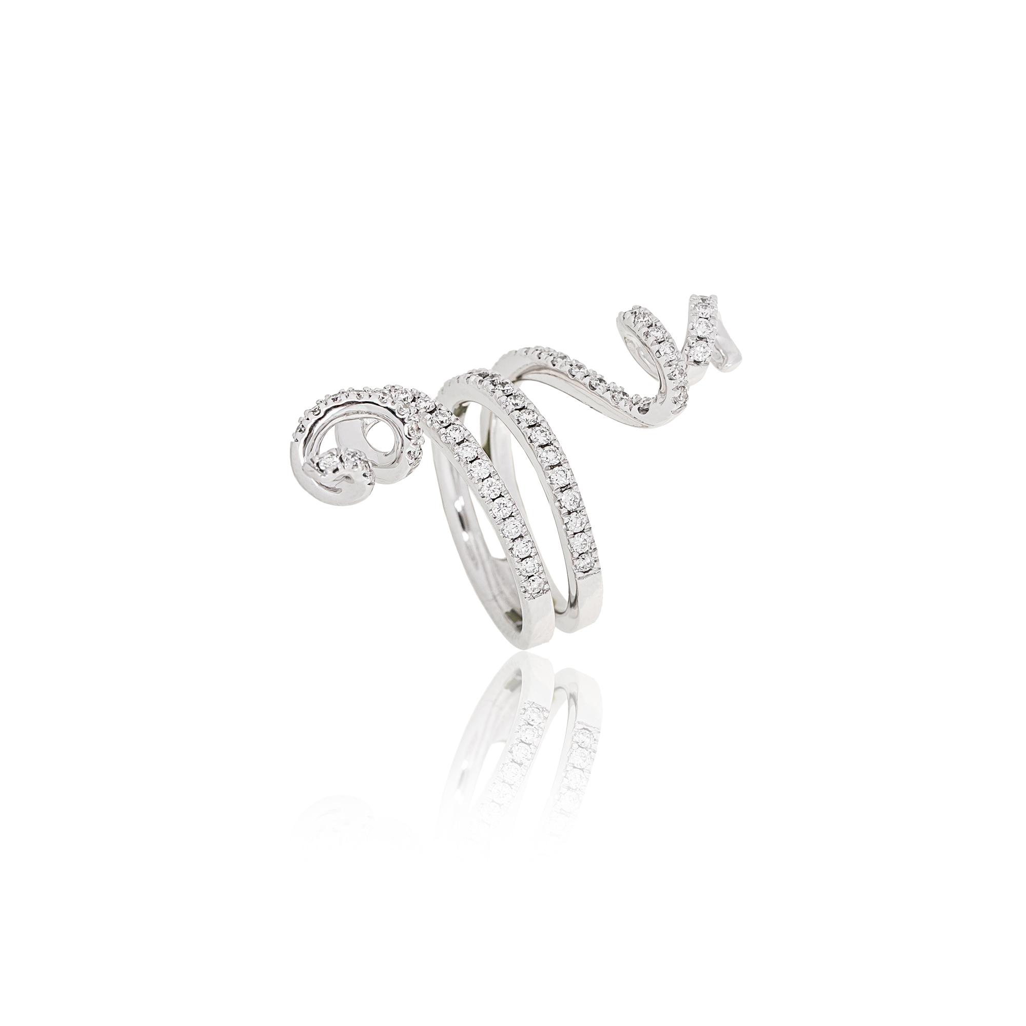 Ring nastri white gold 18kt with diamonds