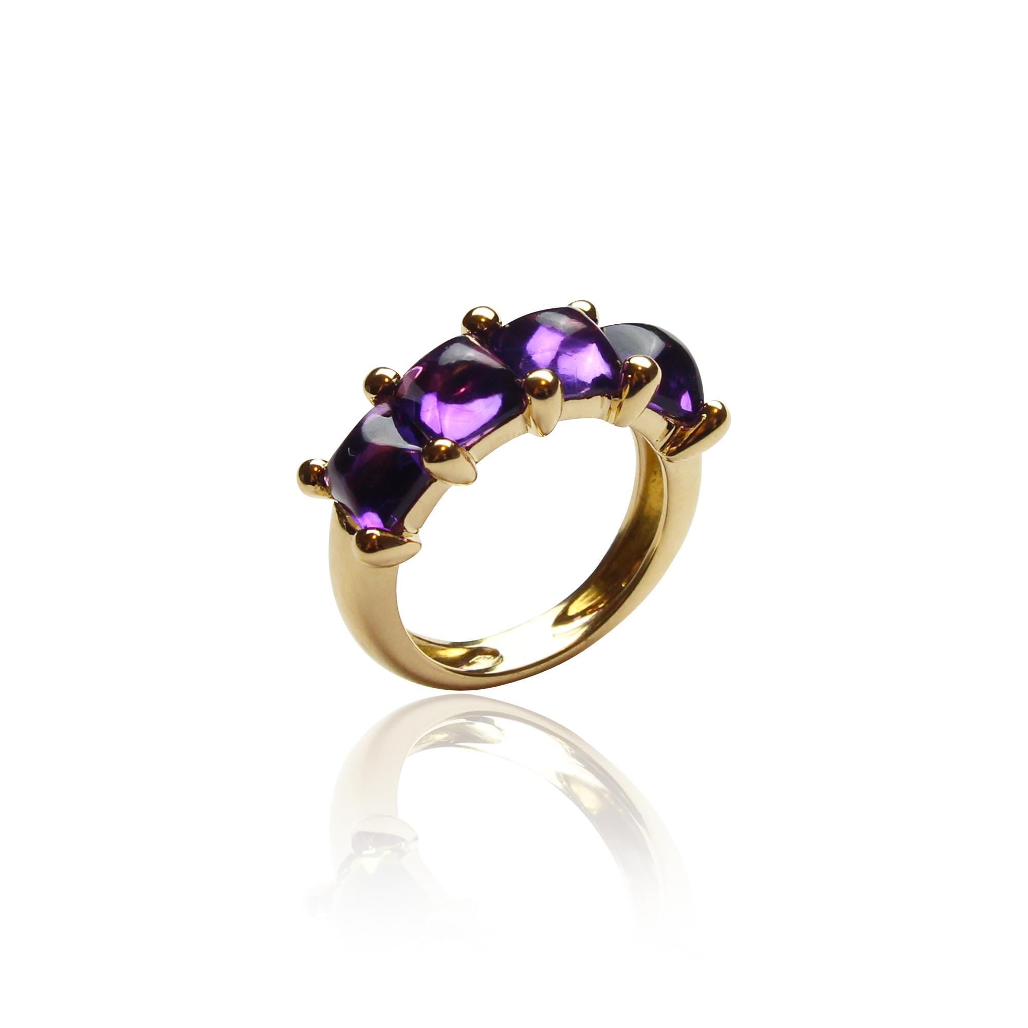 pierścionek paradiso1201 ametysty z żółtego złota 18 karatowego z ametystem