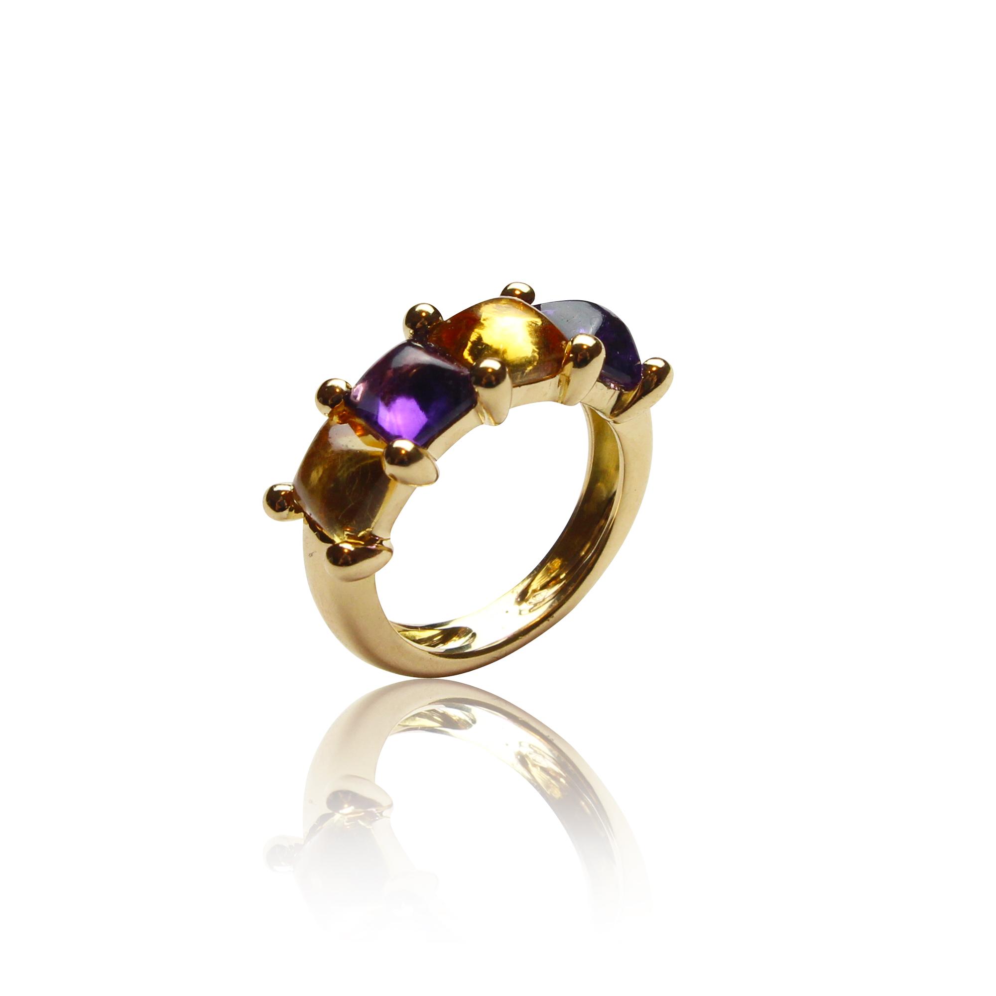 pierścionek paradiso 1202 ametyst ,cytryn z żółtego złota 18 karatowego z ametystem i cytrynem