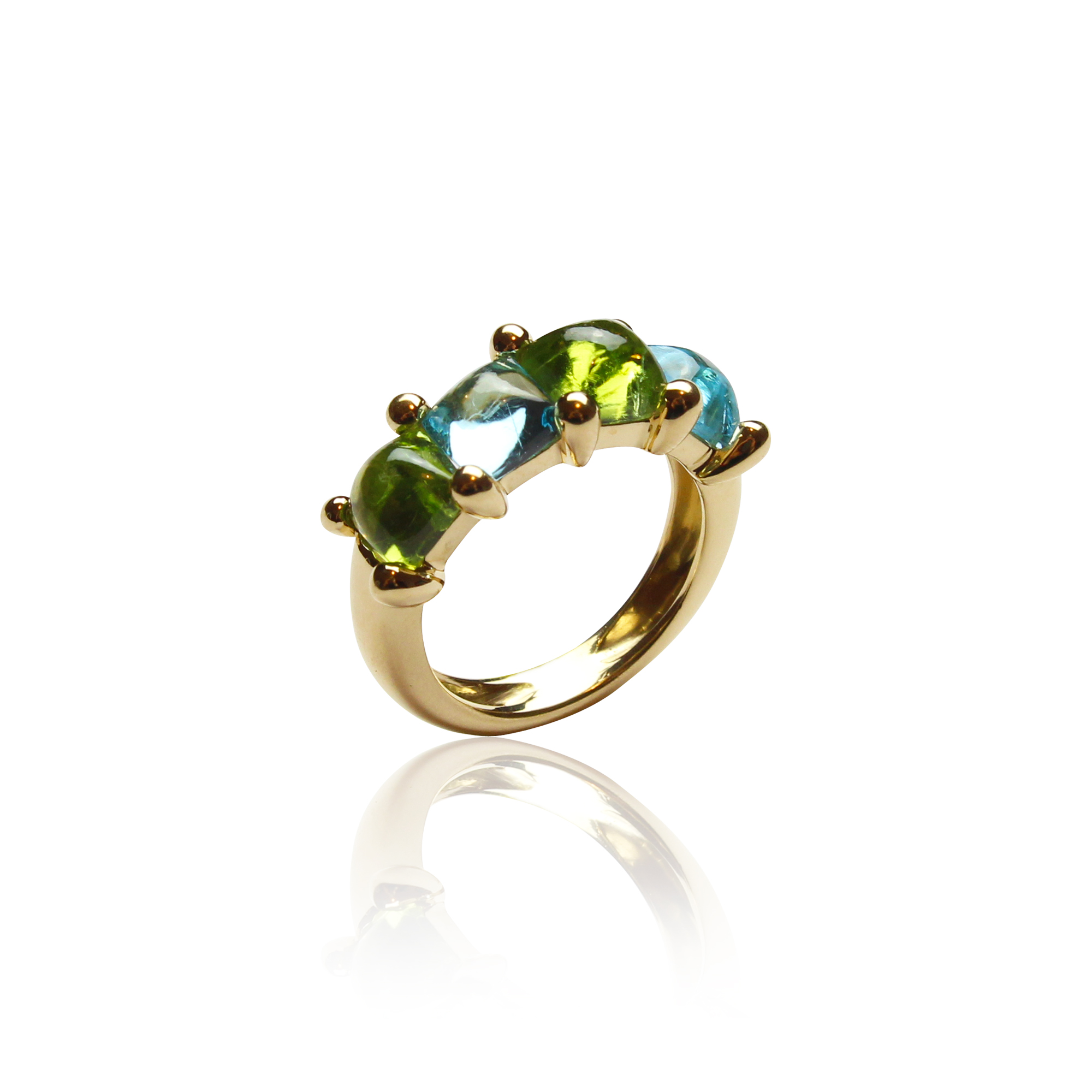 ring arcobaleno in yellow gold 18 carat with peridot's and blue topaz